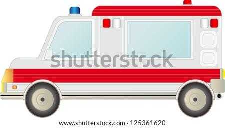 big modern ambulance car isolated on white background - stock photo