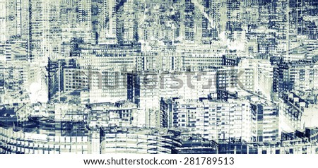 Big modern city, abstract double exposure background pattern with tonal photo filter
