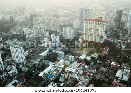 Big modern city with tall buildings, view from above