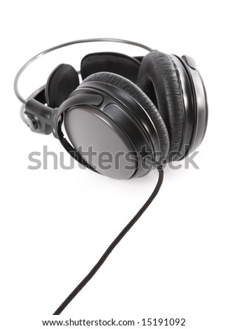 Big modern headphones with long cable. Isolated on white.