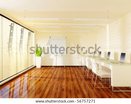 big modern office with  white furniture and notebooks