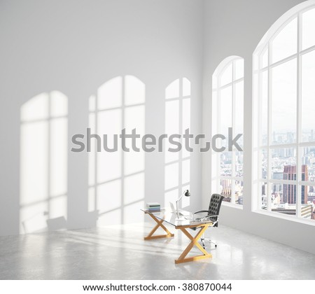 Big modern sunny room with glassy table, chair and big window with city view 3D Render - stock photo