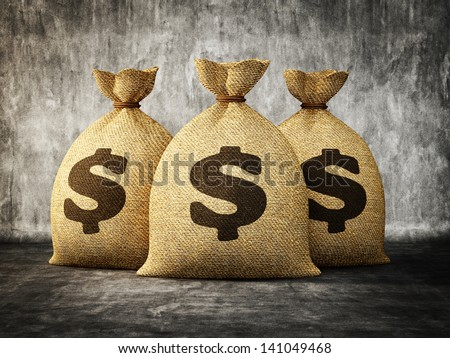 big money bag isolated on a concrete background - stock photo