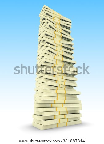 Big money stack from dollars usa. Finance concepts - stock photo
