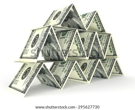 Big money stack from dollars usa. Finance pyramid - stock photo