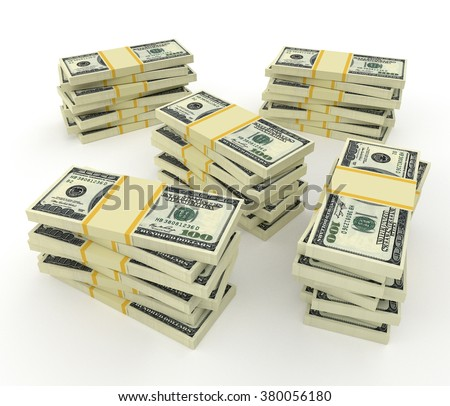 Big money stacks from dollars isolated on white - stock photo