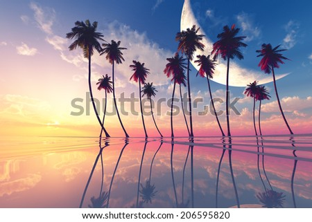 big moon over pink sunset at tropical sea with clouds - stock photo