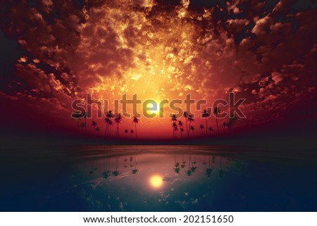 big moon over red sunset at tropical sea with clouds - stock photo