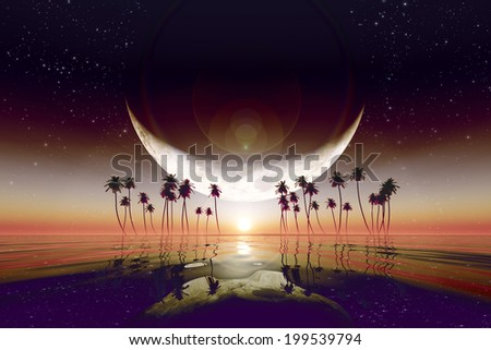 big moon over red sunset at tropical sea with stars. Elements of this image furnished by NASA - stock photo