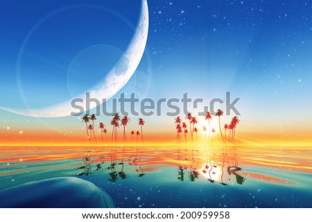 big moon over turquoise sunset at tropical sea with stars. Elements of this image furnished by NASA  - stock photo