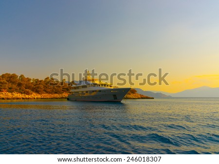 big motor yacht anchored at Agkistri island in Greece