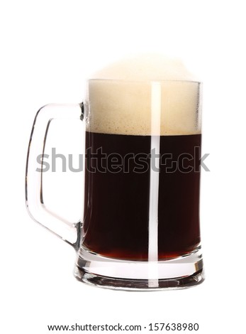 Big mug full with beer. Isolated on a white background.