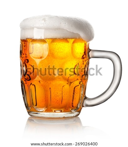 Big mug of beer isolated on a white background - stock photo