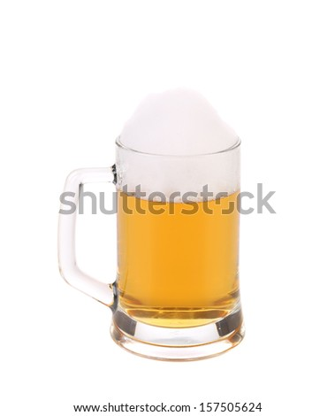 Big mug of golden beer. Isolated on a white background.