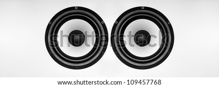 Big Music Speaker on a gray background - stock photo