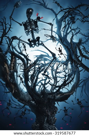 big mystic tree with halloween skeletons at night in moon light