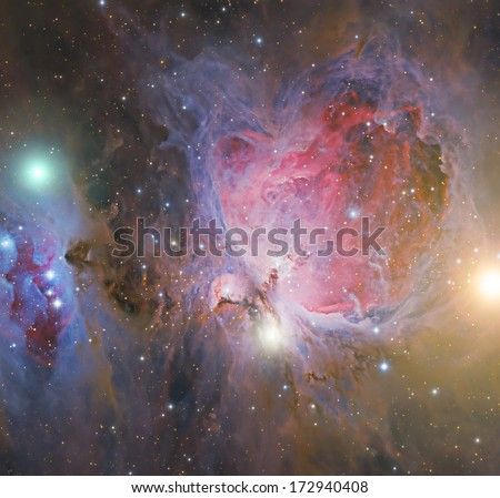 Big nebula in the constellation of the Hunter. - stock photo