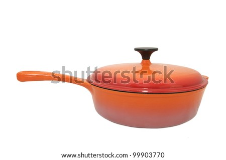 big new pot with a handle on a white background - stock photo