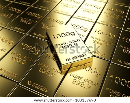 big number of gold bars - stock photo