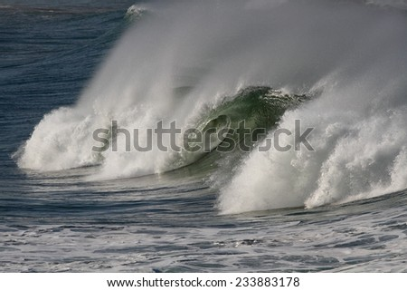 Big ocean wave with tube and spray. North of Portugal.