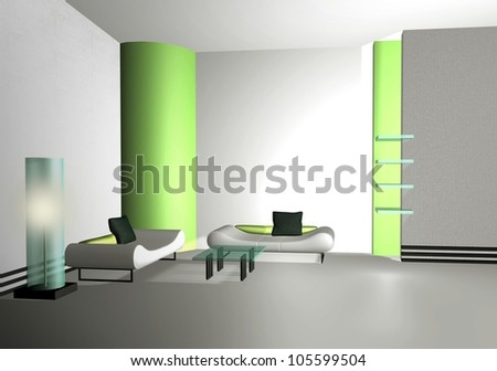 Big office space with counter and gallery - stock photo