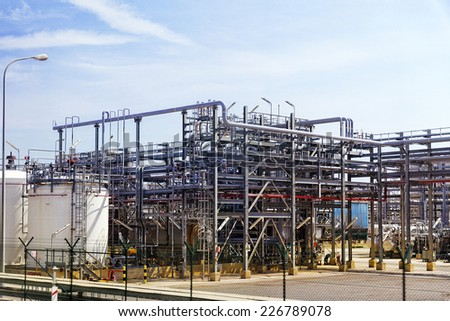 Big oil Refinery factory. - stock photo