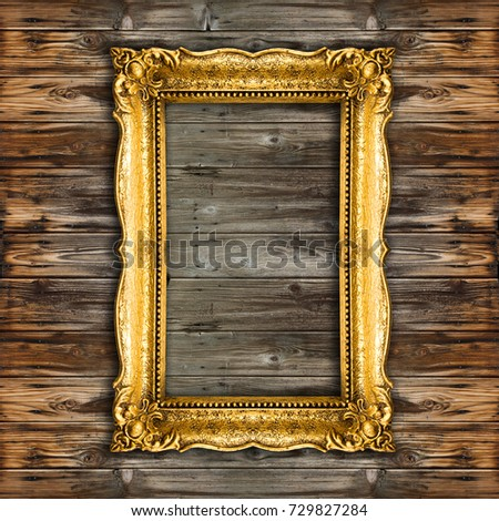 Big Old Picture Frame on wooden background, wood
