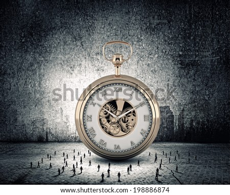 Big old-style pocket watch and many businesspeople around - stock photo