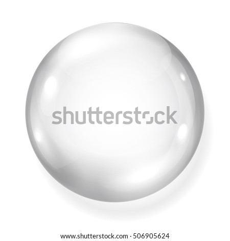 Big opaque gray sphere with shadow on white background. White glass sphere