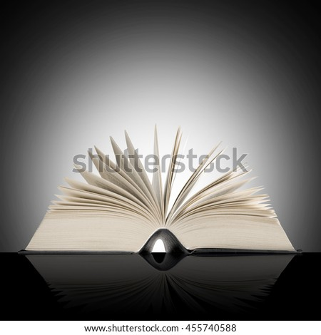 Big open book on shaded background.