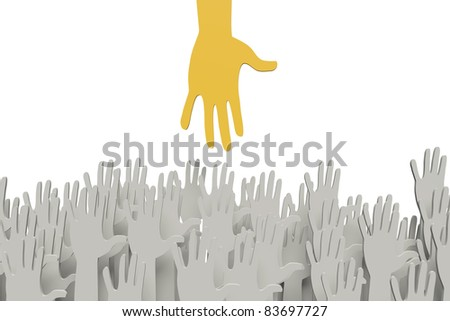 Big orange hand reaching for small ones with clipping path