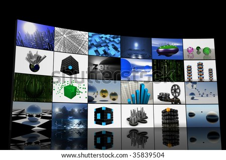 big panel of tv's, modern television concept, 3d generated monitor screens, multiple screens displaying different channels, multiple plasma monitors,