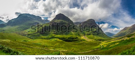 Big panorama in in the Scotland highlands - stock photo