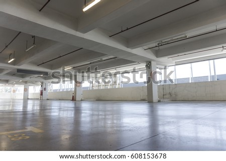 Big parking area in basement