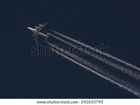 Big passenger airplane jet - stock photo