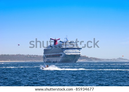 big passenger cruise ship in Mexico water area