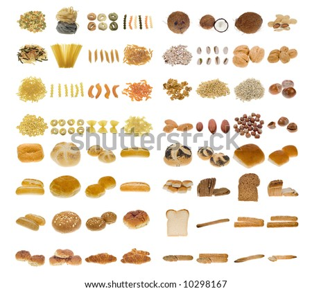 big pasta, bread and nuts collection isolated on a white background, all pieces individually photographed in studio and no shade so its easy to select. - stock photo