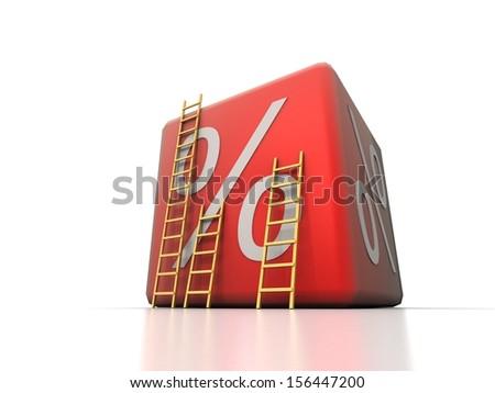 Big percent box - stock photo