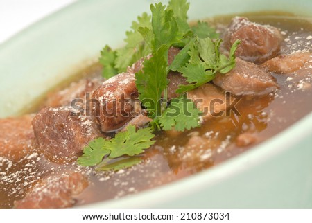 Big Piece of Slow Cooked Grass Fed Organic Beef,Stewed meat with a broth in a white plate close up - stock photo