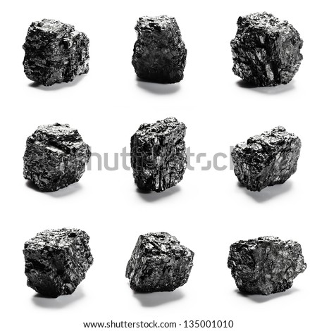 Big pieces of coal isolated on white background - stock photo