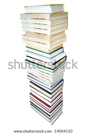big pile of books isolated on white background