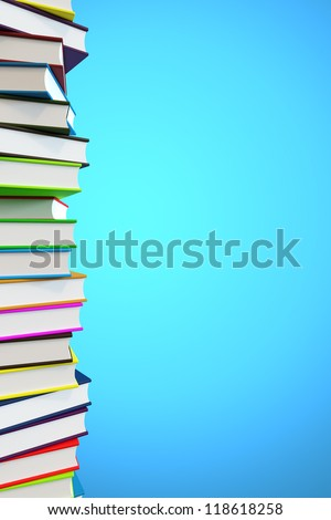 Big pile of books with copyspace and clipping path - stock photo