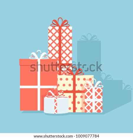Big pile of colorful wrapped gift boxes. Lots of presents. Flat style raster illustration isolated on blue background.