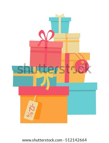 Big pile of colorful wrapped gift boxes. Mountain gifts sale. Beautiful present box with overwhelming bow. Gift box icon. Gift symbol. Christmas gift box. Isolated  illustration