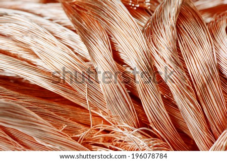 Big pile of copper wire close-up - stock photo