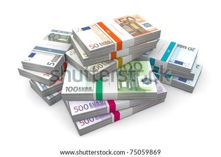 big pile of euro banknotes with wrapper