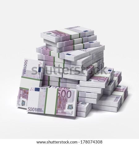 big pile of euros - stock photo