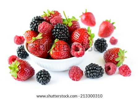 Big Pile of Fresh Berries on the White Background - stock photo