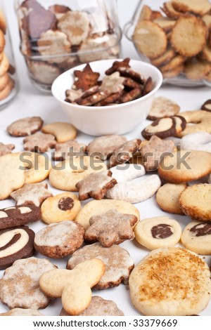 big pile of homemade cookies with various cookie forms