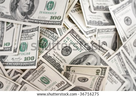 big pile of money. american dollars background